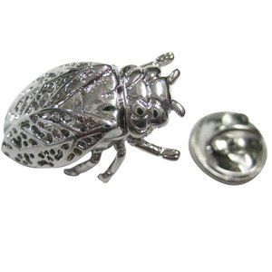 Silver Toned Cicada Insect Bug Lapel Pin